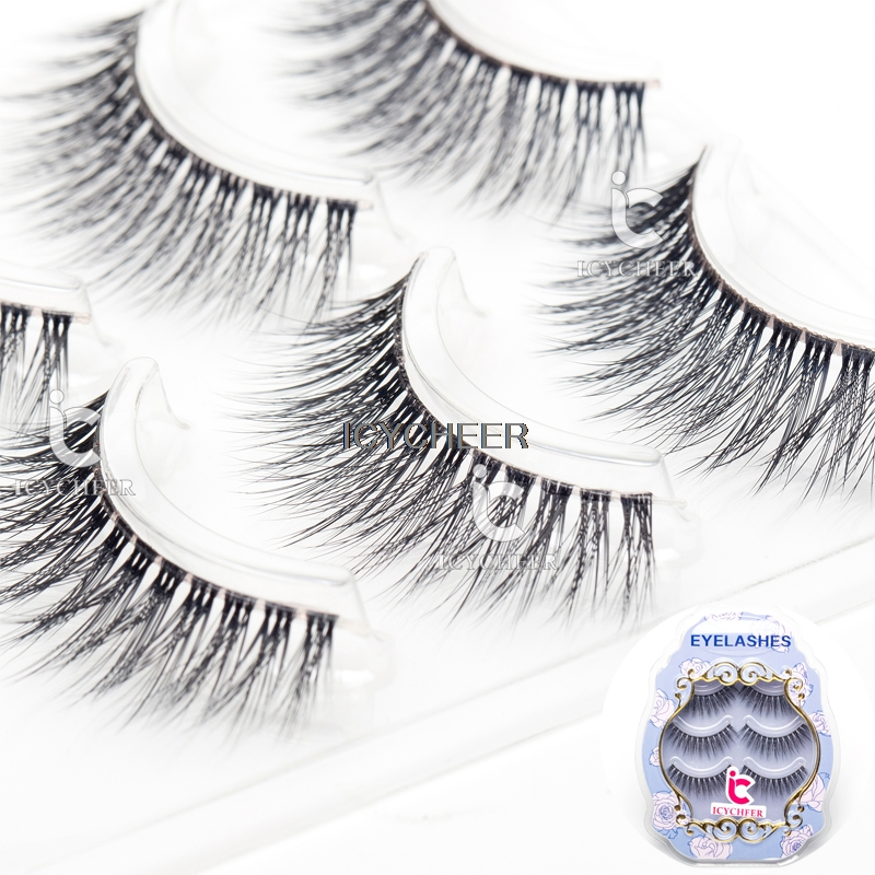 ICYCHEER 3D False Eyelashes Makeup Extension Clear Band 3Pair/Set Natural Black Eye Lashes