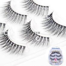 Icycheer 3d cílios postiços maquiagem extensão banda clara 3 par/set natural cílios de olho preto