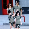 Camouflage Family Matching Outfit O-neck Mother Daughter Father Son Clothes Family Clothing Sets Striped Family Set 3XL KT27
