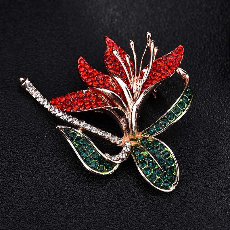 Warna Emas Mawar Merah Bunga Bros untuk Wanita Cubic Zirconia Daffodil Vintage Bros Lapel Pin Fashion Bros Perhiasan X176