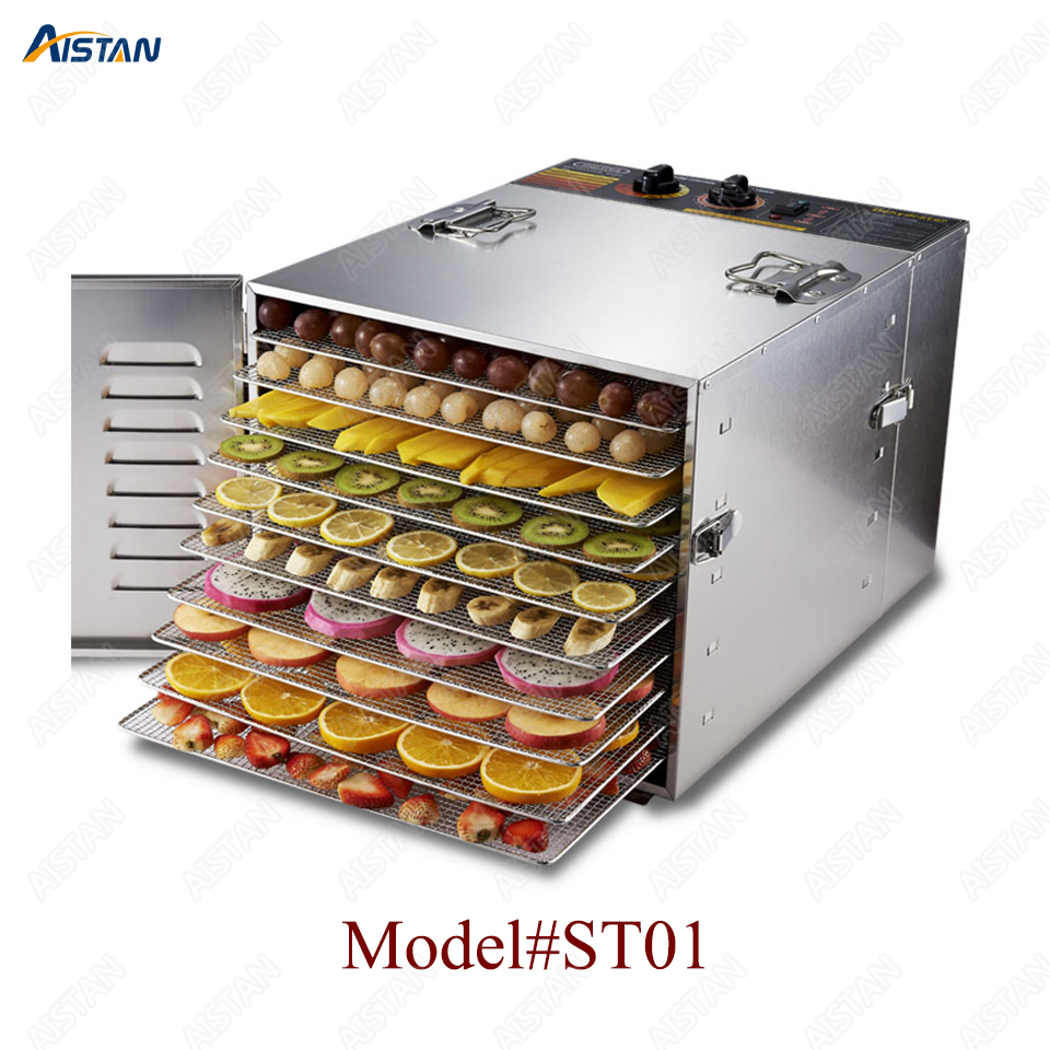 ST01 Ten Trays Food Dehydrator Snacks Dehydration Dryer Fruit Vegetable Herb Meat Drying Machine Stainless Steel