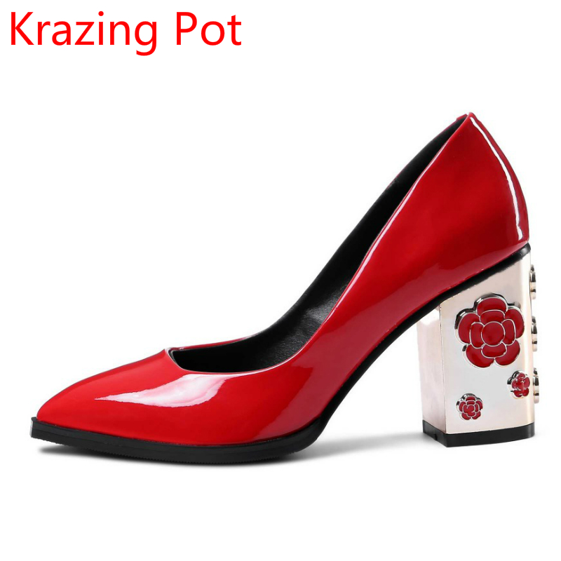 Genuine Leather Slip on High Heels Flower Shallow Pointed Toe Women Brand Shoes Large Size Pumps Superstar Wedding Shoes L19 new arrival genuine leather pointed toe high heels stiletto shallow metal buckle pumps slip on women brand wedding shoes l8f3