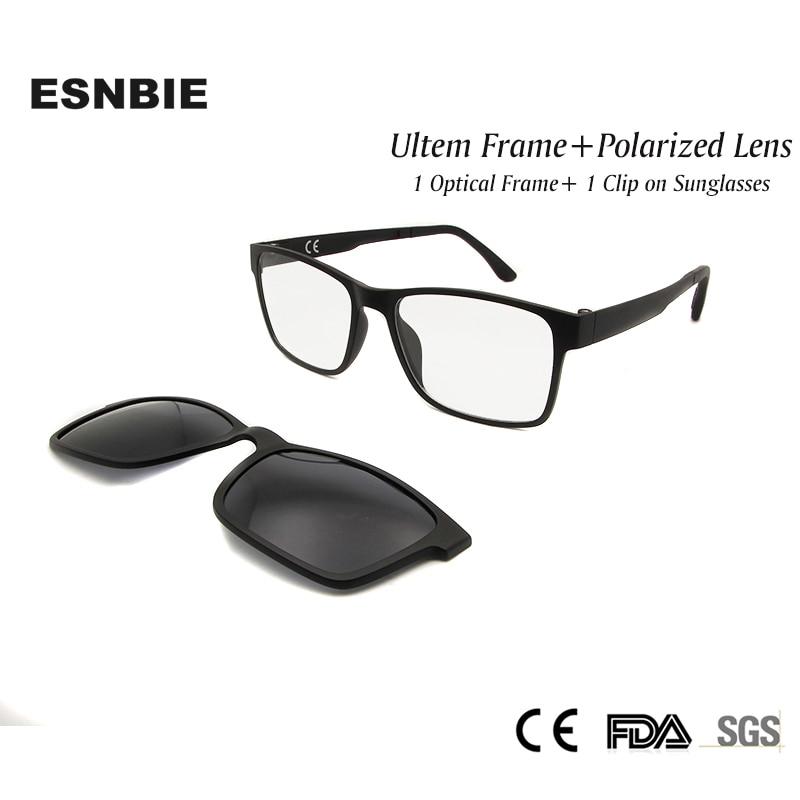 10d0c066d2d ESNBIE Mens Polarized Clip on Sun Glasses with Men Glasses Optical Nerd  Glasses Frame Ultem Flexible