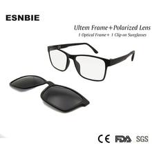 Mens Polarized Clip on Sun Glasses Fishing with Men Optical Nerd Frame Ultem Flexible Driving Eyewear