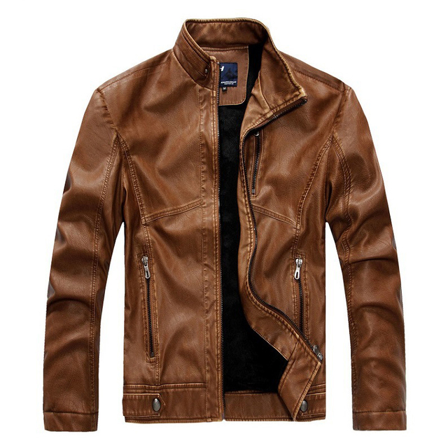 New leather jacket men's leather men's European and American fashion Slim PU leather motorcycle leather plus velvet acket