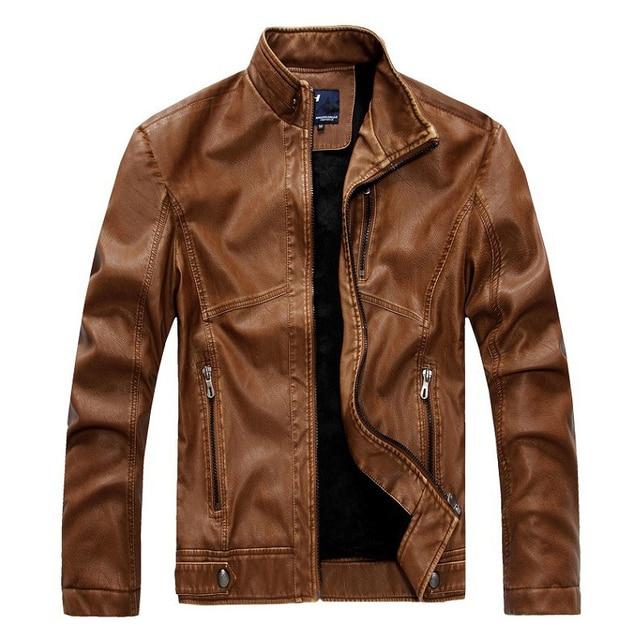Nueva chaqueta de cuero de cuero de los hombres los hombres de moda de Europa y América Delgado cuero de LA PU de cuero de la motocicleta, además de terciopelo acket