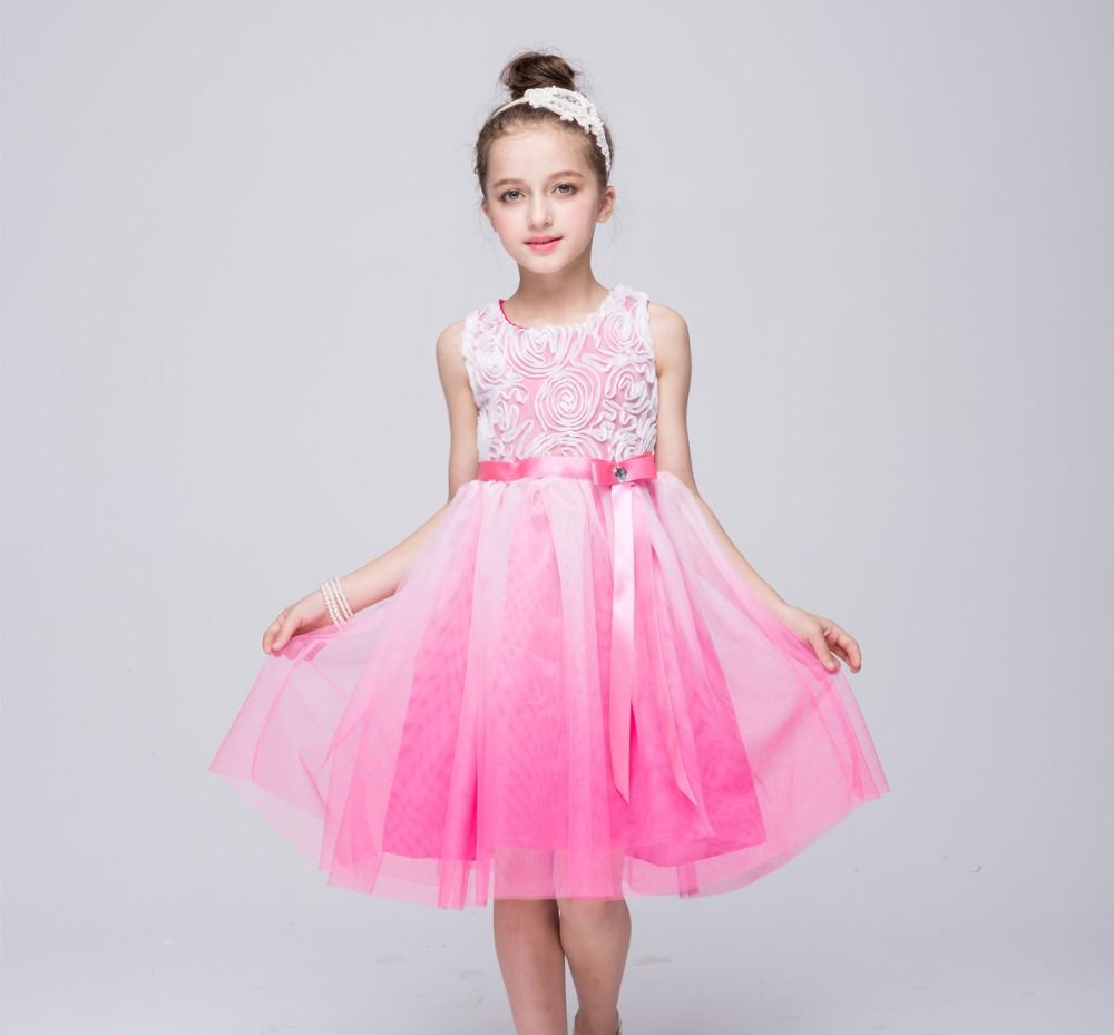 Bebé color degradado princesa Vestidos dama Vestidos de fiesta Niñas ...