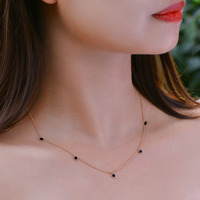 Caimao Jewelry 14kt Yellow Gold Black Onyx Chain Pendant for Womens Exquisite Design Can Wear 16inch and 18inch