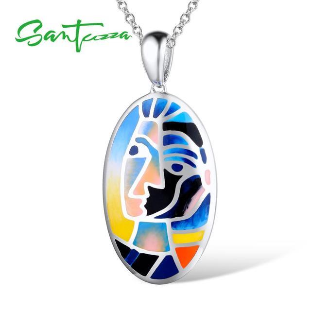 Santuzza Silver Pendants For Women Pendant fit for Necklace 925 Sterling Silver Slide Necklaces Pendant Colorful Enamel Handmade