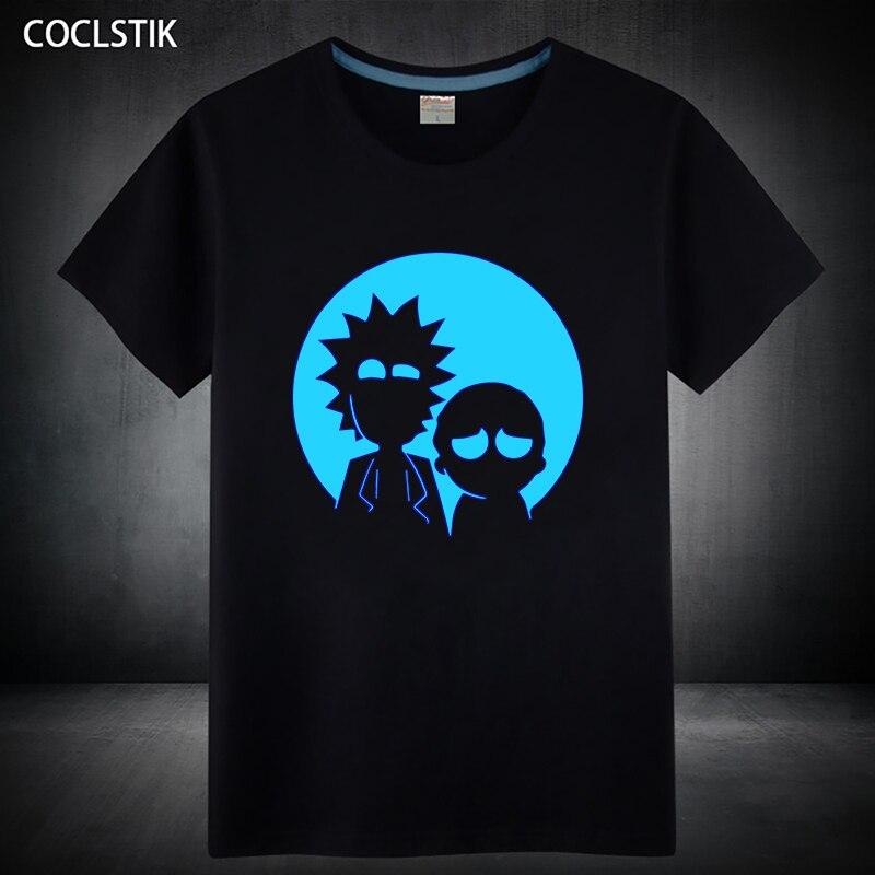 100% Cotton Children/Adult Summer Fluorescent Rick and Morty T Shirt Male/Mens Anime Luminous Kids Short Sleeve T-shirt S-5XL