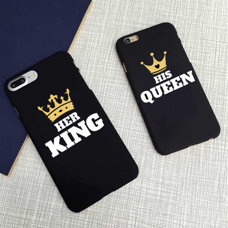 cute matching king and queen black letter case matte hard