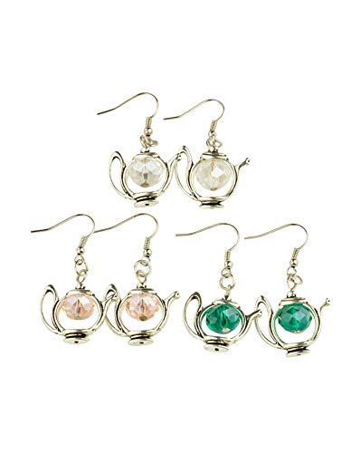 20 Pair Trendy Tibetan Style Teapot Dangle Earrings, with Glass Beads and Brass Earring Hooks, Mixed Color,about 45mm long F80