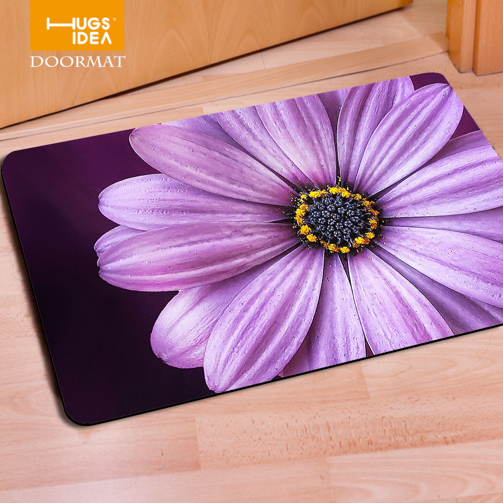 HUGSIDEA Rectangle Floral Print Felt Rubber Outdoor Floor Mats Indoor Living Room Carpets Kids Home Rugs Modern Anti-Slip Mats