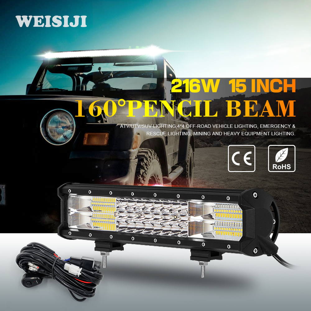 ФОТО WEISIJI 1Pcs 216W Offroad Working LED Light Bar 15in Tri-row Light Bar LED Working Light for Jeep Ford Hummer Ship SUV ATV UTV