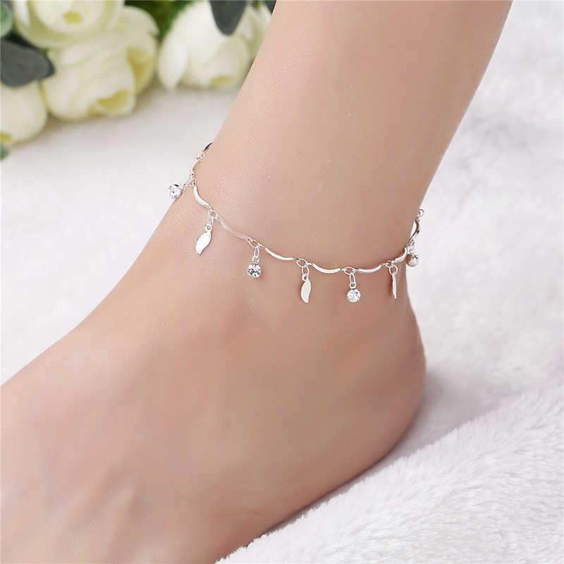 Vintage Moda Yapraklar Kristal Halhal Kadınlar Link Çene Bohemian 925 Gümüş Ayakkabı Çizme Zinciri Bilezik ayak takısı CB132