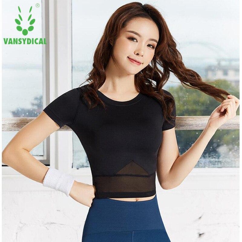Women Fitness Yoga Top Sexy Mesh Sport T-Shirt Short Sleeve Sports Gym Shirts Quick Dry Workout Crop Tops Running Sportswear