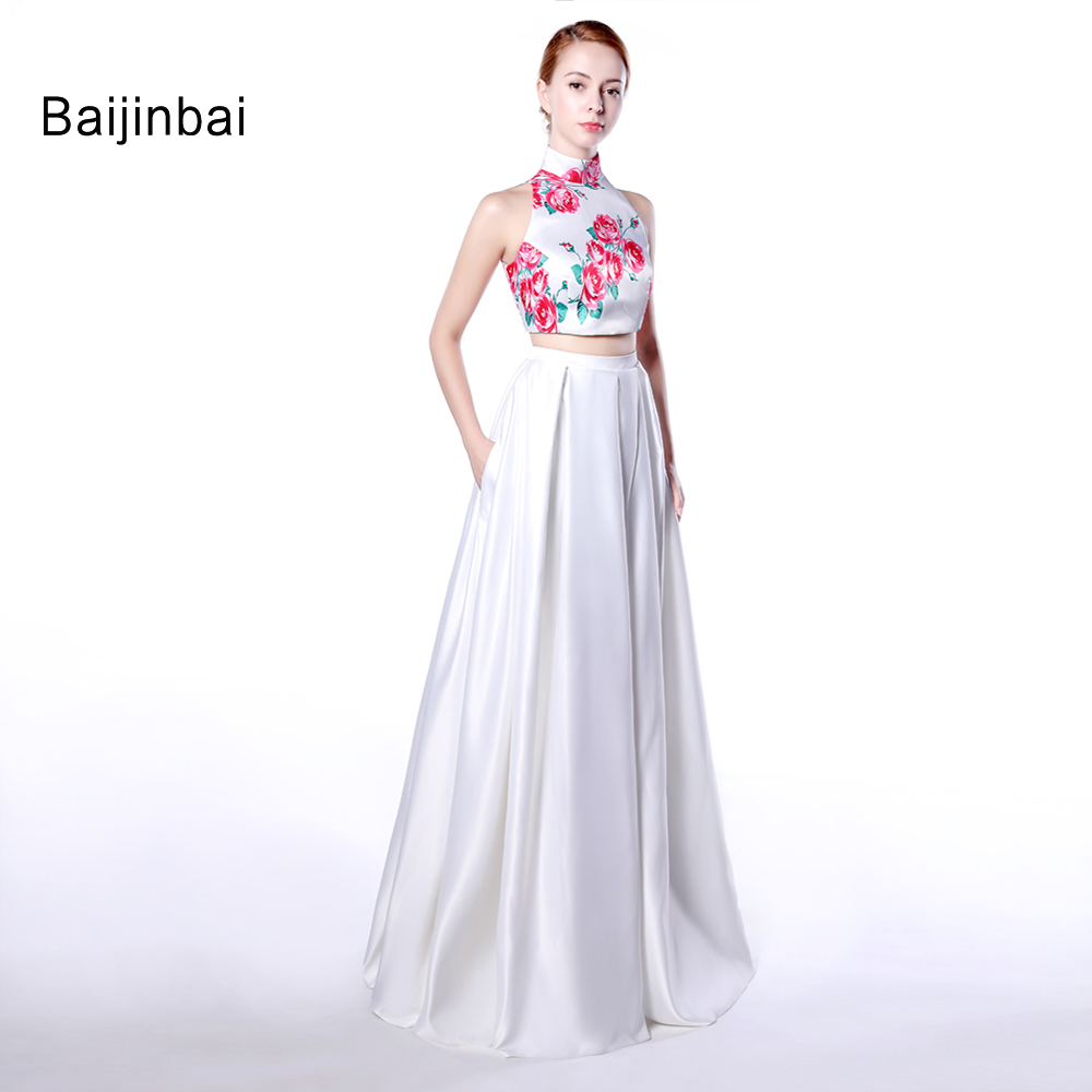 Baijinbai New Flower Print High Neck Satin Long White Prom Dresses