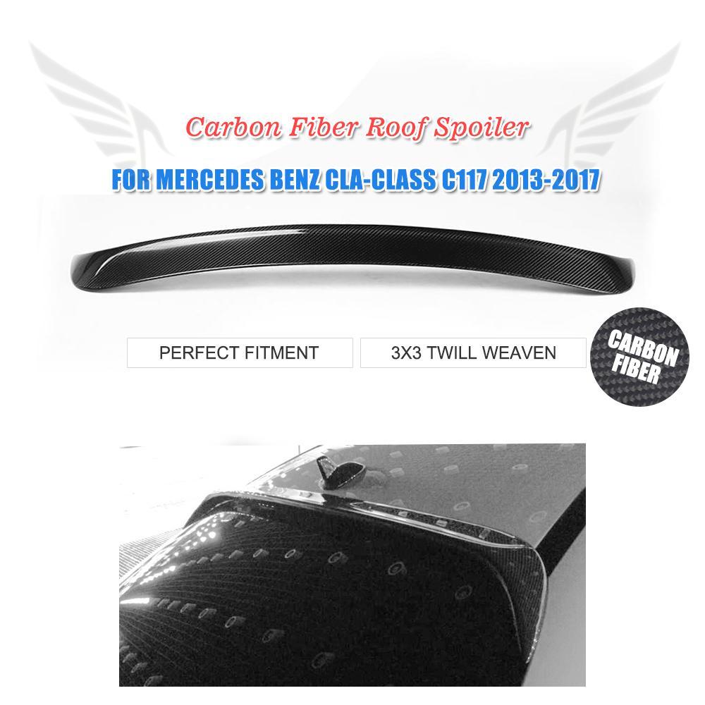 Carbon Fiber Rear Roof Spoiler Wing for Mercedes-Benz CLA 250 CLA45 C117 2013-2017 Trunk Trim Sticker Rear Window Spoiler w205 carbon fiber car rear body kit splitter trim for mercedes benz w205 4door 2015up