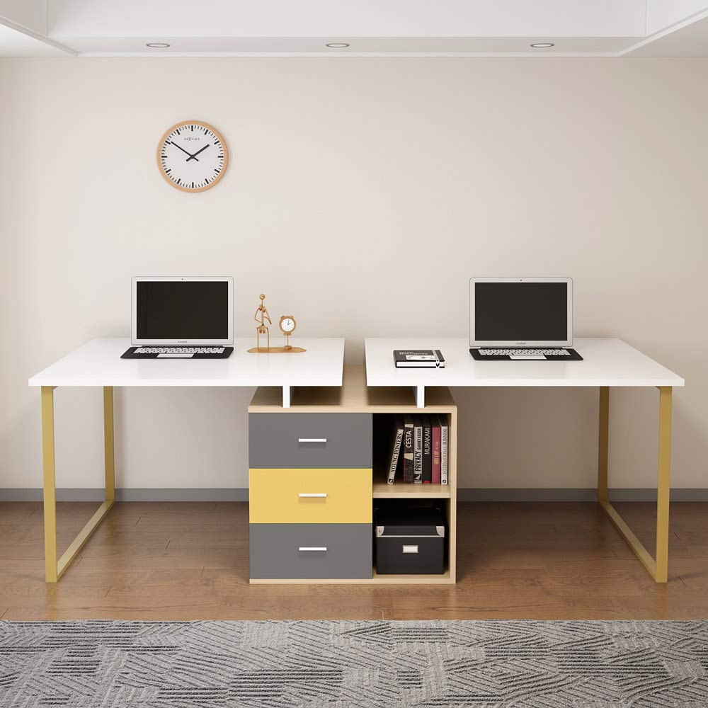 Extra Long Computer Desk for 32 Person Adjustable Double