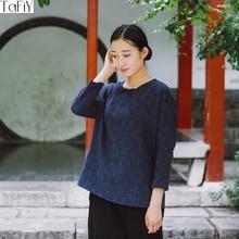 Tafiy النساء أعلى 2017 vestidos خمر س الرقبة اليدوية لوحة زر ثلاثة أرباع القطن الكتان الجاكار قميص المرأة عارضة blusas