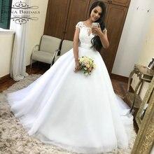 robe mariee Cap Sleeve Lace Applique Belt Wedding Dress