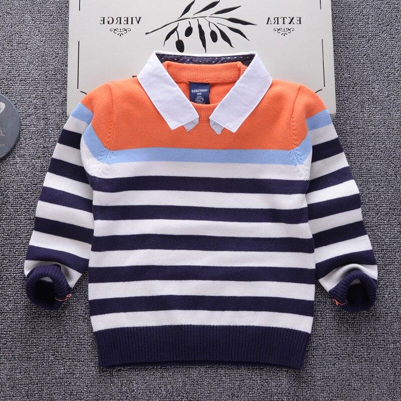 761e148a1 Suéteres otoño 2018 Casual niños lana solapa suéter rayado para bebé niños  niñas ropa infantil superior