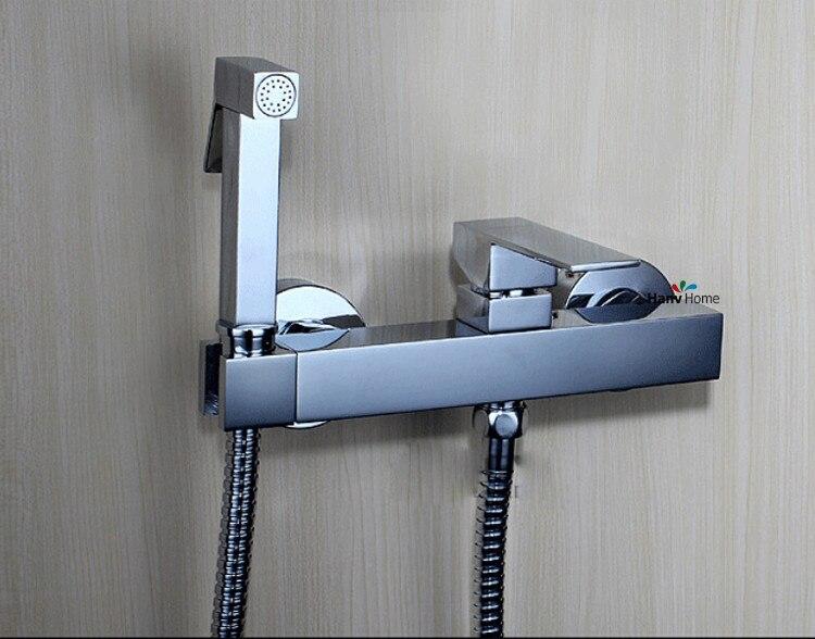 Brass Toilet Handheld Bidet Spray Shattaf + Hot U0026 Cold Mixer Valve With  Holder Sprayer Shower