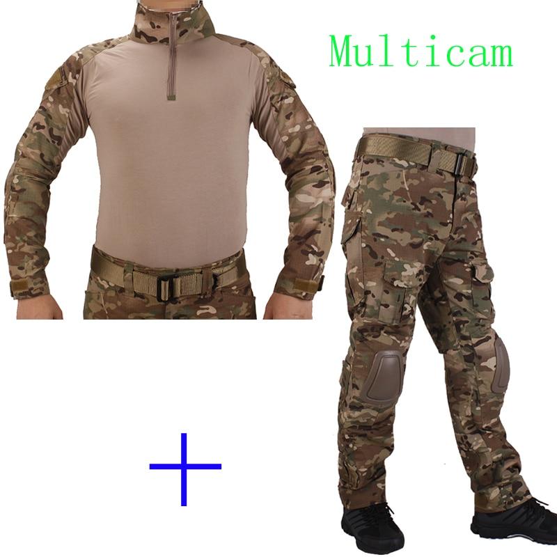 Hunting Camouflage BDU Multicam Combat uniform shirt met Broek en Elbow&KneePads militaire cosplay uniform ghilliekostuum jacht