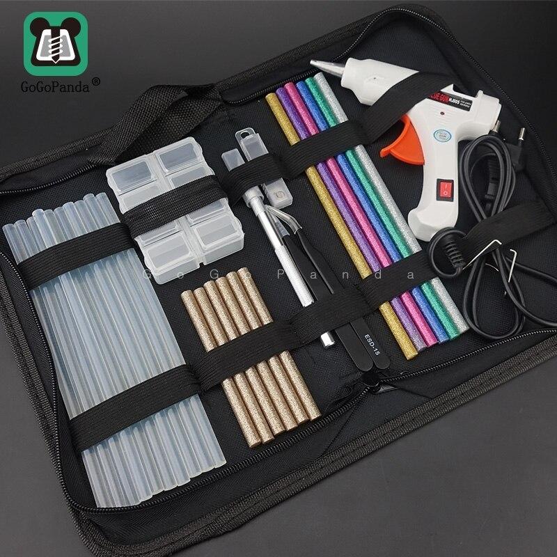 Envío Gratis 6 en 1 Juego de pistola de pegamento de calor eléctrica de fusión en caliente de herramienta de reparación profesional DIY 110-240 V 20 W con palos regalo