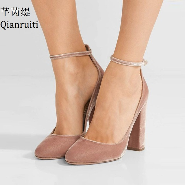 Qianruiti Zapatos Mujer Nude Pink Black Flock Women Pumps Sexy Buckle Strap  High Heels Shoes Ankle-Wrap Block Heels Women Shoes fe06cf59d194