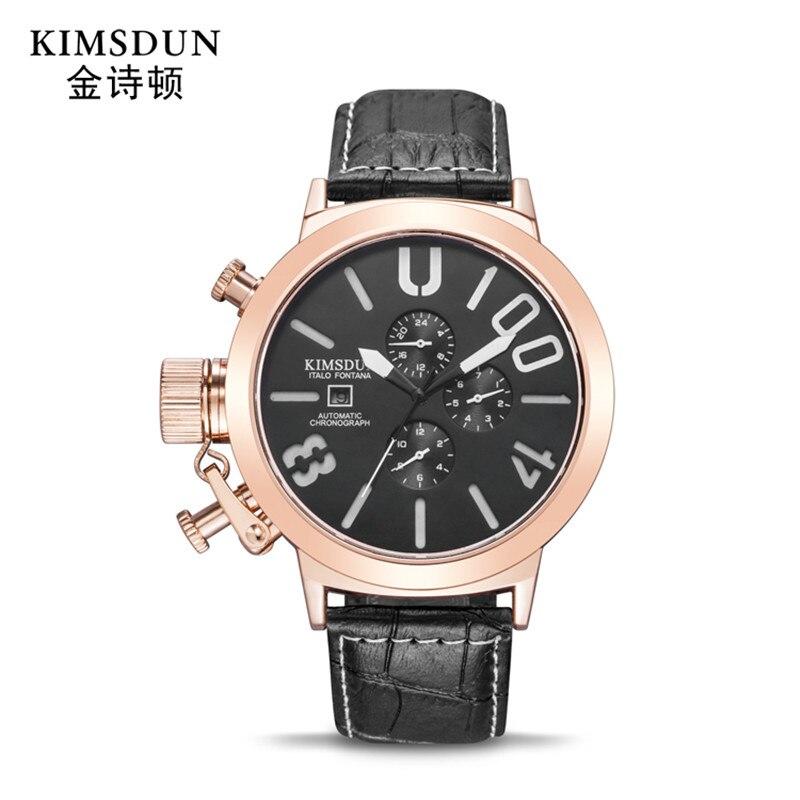 Automatic Mechanical  Luxury Brand Leather Fashion Men Quartz Watches Sport Clock Big Watch Men Army Military Watch Relogio
