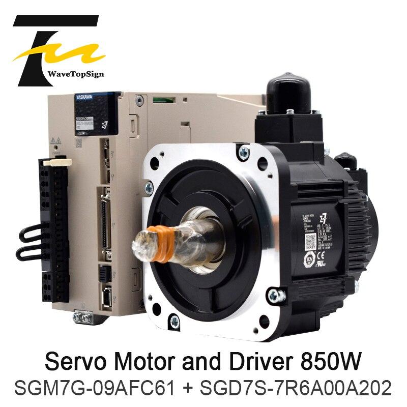 YASKAWA Servo Motor 850W SGD7S-7R6A00A202 SGM7G-09AFC61 + Motorista + Cabo de Conexão 5 Medidor