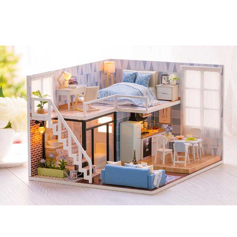 New arrival Miniature Wooden Doll House With DIY Furniture Fidget Toys For Kids Children Birthday Gift Blue Times