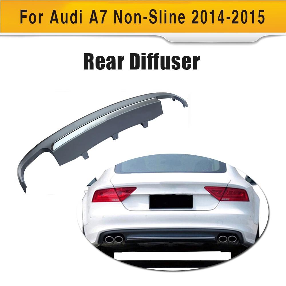 Grey PP car rear lip diffuser spoiler with Exhaust for Audi A7 standard hatchback 4 door 12-15 Non S7 Sline