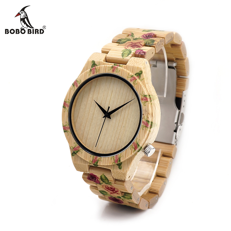 BOBO BIRD V D21 UV Print Flower Wooden Watches Men Women Designer Brand Quartz Wristwatch in