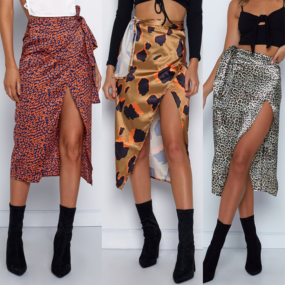 Womail Women Skirt Summer Fashion Sexy Print High Waist Irregular Split Bandage Pencil Skirt Daily Casual  2020  F10