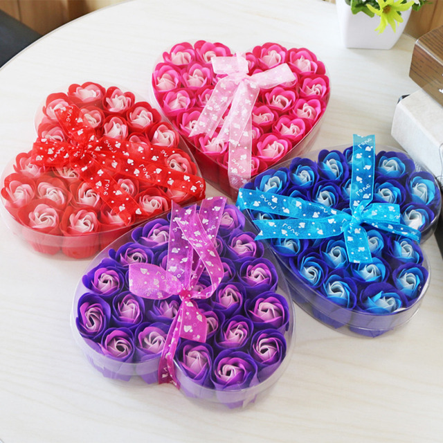 Wedding Decoration Valentine Gift 24pcs Simulation Rose Petal Paper Soap Heart Shape Pack Flower Scented Washing Cleaning Hand 2
