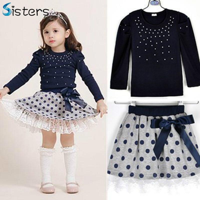 2017 New brand spring girls T-shirt + skirt 2pcs clothing Diamond dot bow dress children's skirt set costume for kids clothes
