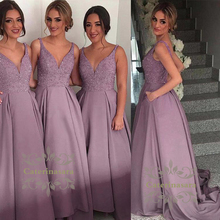 A-Line / Ball Gown Straps Floor Length Bridesmaid Dress with Side  Pockets / Beading Sexy V Neckline