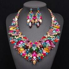 Luxo Grande Colar De Casamento Brincos Conjuntos Conjuntos De Jóias Nupcial Indiano Conjuntos De Cristal Vestidos de Festa Traje Jóias para Noivas Mulheres