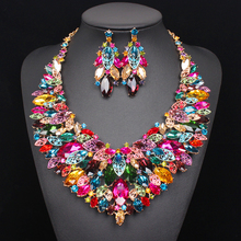 Luxury Big Indian Bridal Jewelry Sets Wedding Necklace Earrings Sets Crystal Sets Party Dresses Costume Jewelry for Brides Women