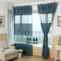 Hot Blue Polyester Curtain Tulle Striped Burnout Curtains Translucidus Window Curtain for Balcony Living Room Home Decoration
