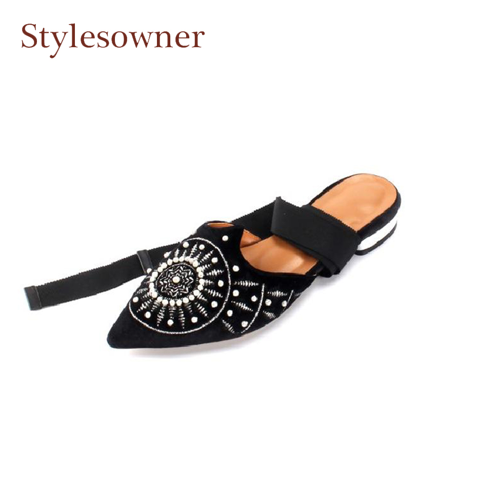 Stylewowner velvet embroider comfortable flats shoes for women beading string decor cross tied bandage spring summer mules shoes retro black velvet strip cross decorative anklet for women