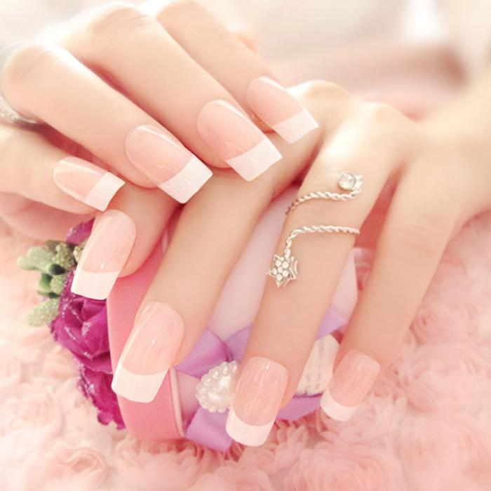 24 Pcs/Set French Long False Nails With Glue Wedding Bride Party ...
