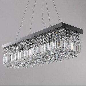 Image 4 - Candelabro de cristal moderno para comedor, candelabro de techo rectangular mangic