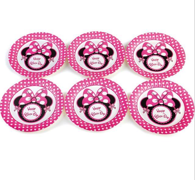 Nouveau 7 pouces 10 pcs/lot Mickey mouse Minnie thème fête fournitures jetables plaque de papier décorations d'anniversaire de mariage