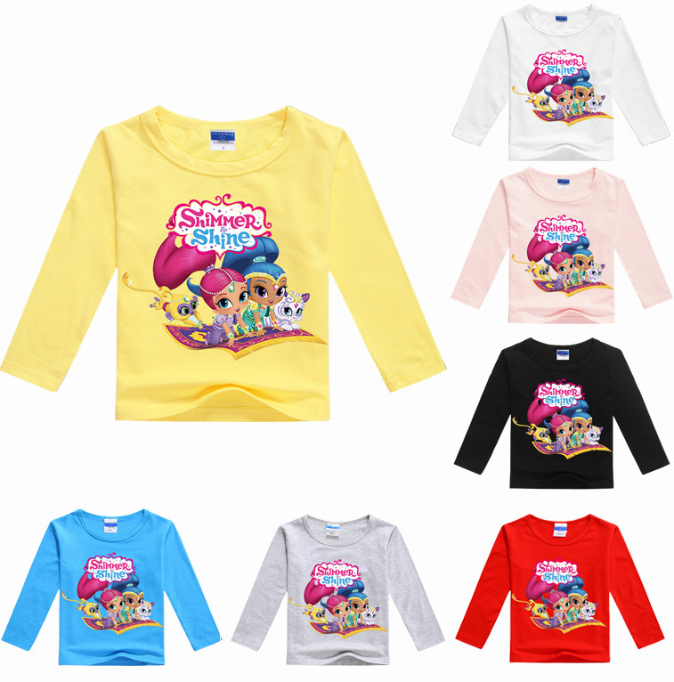 Brand Cartoon Style Long Sleeve Girls T-shirts Cotton Summer Children Girl Tshirt Shimmer and Shine Tops Tees for 3-14 Years
