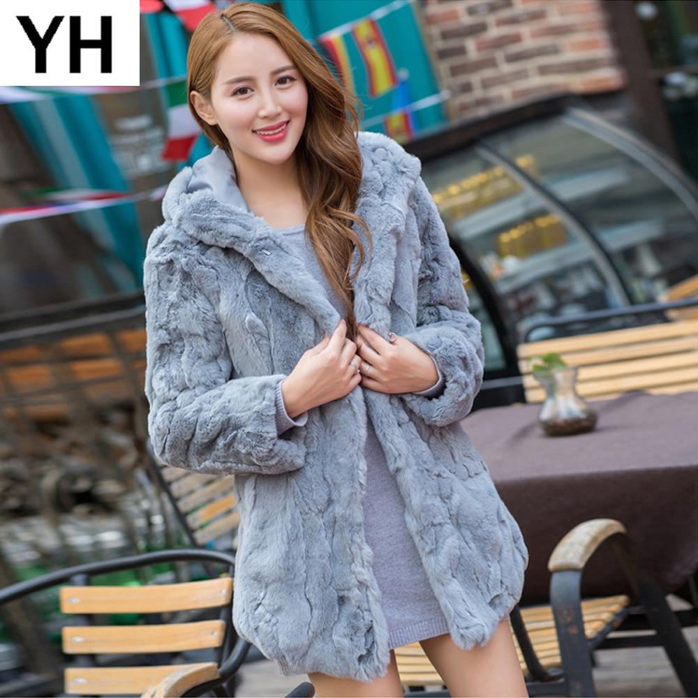 2018 Long Style Women Real Rex Rabbit Fur Coat Warm Soft Real Rex Rabbit Fur Jacket