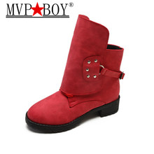 MVP Boy Western Fashion Winter Woman Ladies Horse Riding Boots Vintage Combat Punk Ankle boot Women Genuine Leather Short Boot