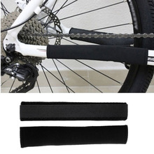 2Pcs Outdoor Sport Neoprene Black Posted Frame Bicycle Chain Protector Cycling Care Bike Guard Cover rockbros bicycle chain protect guard cover pad cycling neoprene bike frame protector rear fork chain care stay bike accessories